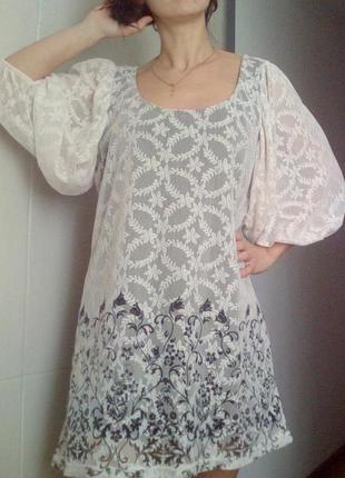 Красивое платье, туника гипюр
