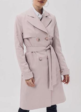 Тренч пудровый плащ демисезонное легкое пальто пудра размер м-л