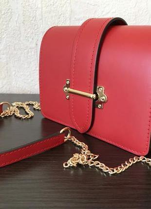 Кроссбоди/поясная сумка 29364 /италия/ натуральная кожа красная