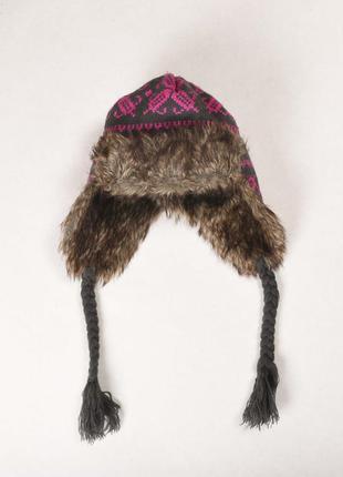 Серая вязаная женская шапка-ушанка george, с жаккардовым орнам...