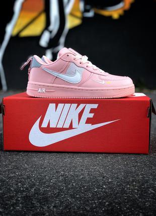 Крутые женские кроссовки nike air force розовые
