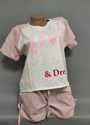 Костюм женский футболка+шорты,пляжный костюм