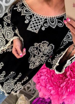 Шикарная блуза свободного кроя кружево вышивка хб
