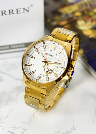 Оригинальные мужские наручные часы Curren 8372 Gold-White