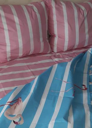 Полосатое постельное белье с фламинго