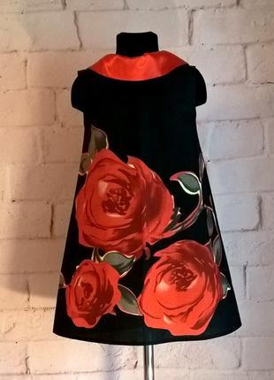 Сарафан для девочки, сарафан детский с принтом розы, рр 110-140