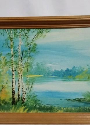 Картина маслом в деревянной рамке.