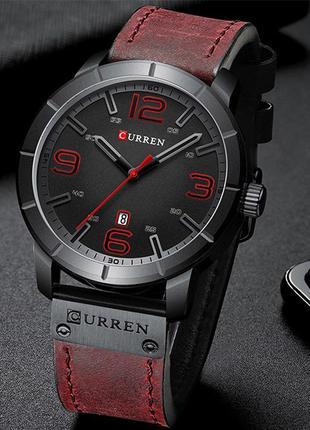 Оригинальные мужские наручные часы Curren 8327 Red-Black
