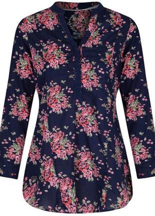 Летняя хлопковая блуза рубашка туника большого размера