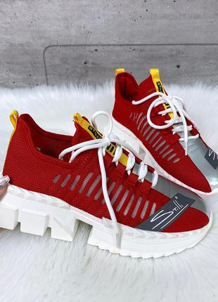 Красные текстильные кроссовки с сеткой,кроссовки из текстиля н...