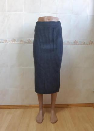 Трикотажная тёмно-серая юбка olko