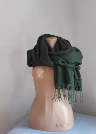Кашемировый палантин шарф alpine болотного цвета