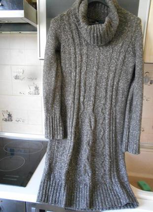#next#теплое меланжевое платье косами#