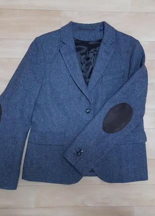 Шерстяной пиджак gant серого цвета