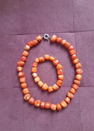 Комплект колье + браслет из натурального камня оранжевого цвета