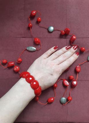 Комплект браслет + бусы украшение ожерелье