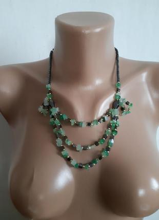Колье ожерелье бусы из натуральных камней (нефрит и гематит)