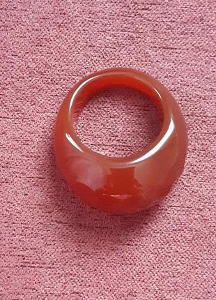 Кольцо перстень из натурального камня сердолик гранёное