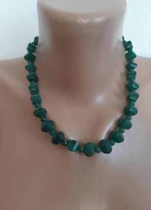 Бусы колье ожерелье из натурального камня зелёного цвета