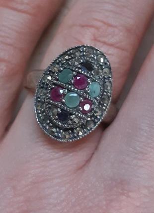 Винтажное серебряное кольцо с натуральными камнями