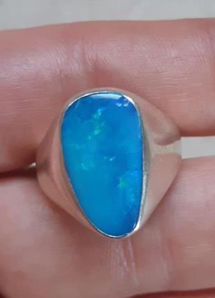 Серебрянное кольцо с голубым камнем