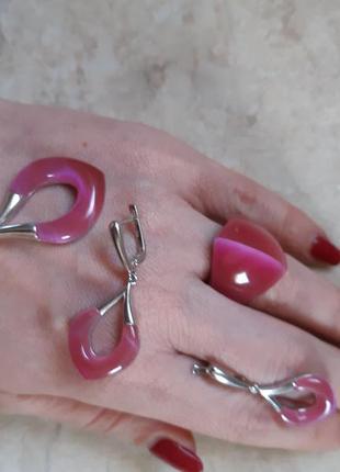 Набор кольцо + серьги + подвеска с натуральным розовым камнем