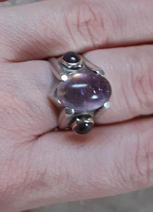 Серебряное кольцо перстень с натуральными камнями