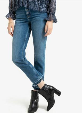 Мом джинсы бойфренды плотный джинс необработаным край licc jeans