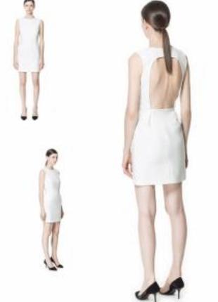 Шикарное белое платье футляр с открытой спиной zara l