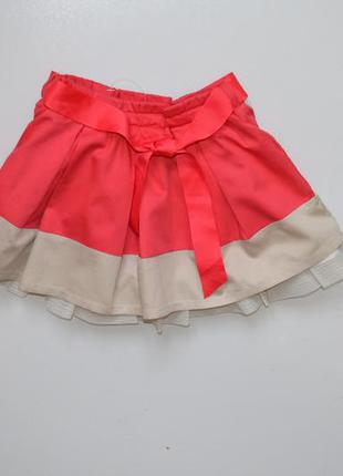 Prenatal. пышная нарядная 2-х цветная юбочка в складки с поясо...