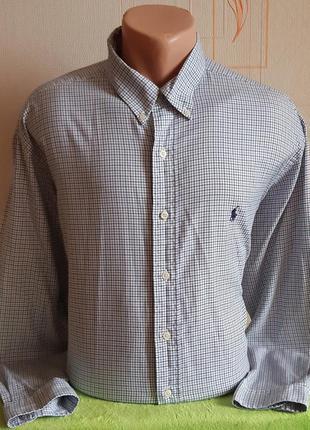 Стильная белая рубашка в серую клетку ralph lauren yarmouth ma...