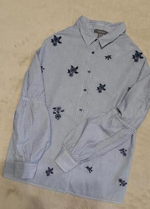 Рубашка в полоску вышивка цветы красивый рукав размер 8-10 pri...