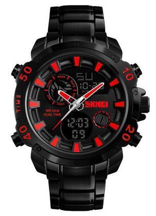 Оригинальные мужские наручные часы Skmei 1306 Steel Black-Red