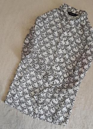 Рубашка шифоновая в птичках размер 10 dorothy perkins