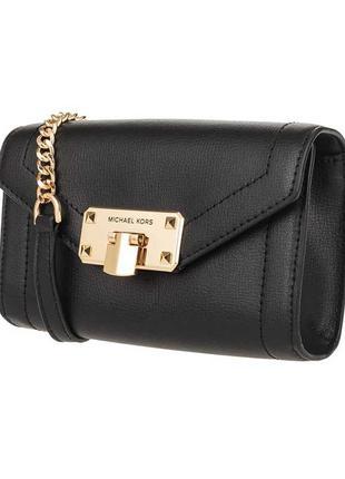 Оригинальная кожаная сумка-клатч Michael Kors MK черная кожа крос
