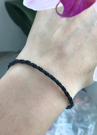 Браслет серебро 925 кожа 4008 черный