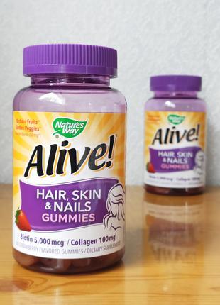 Alive. Витамины с биотином и коллагеном, кожа, волосы, ногти