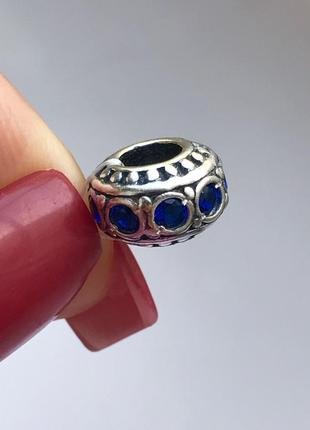 Шарм серебро 925 пробы в стиле пандора синий 3509
