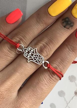 Красная нить серебро 925 пробы браслет рука фатимы хамса 4048