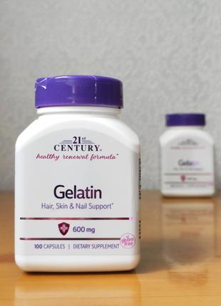 Желатин, 600 мг, 21st Century, 100 капсул