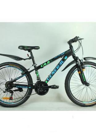 Велосипед 24 GENERAL 4,0 STEEL (21 sp) зелено-черный