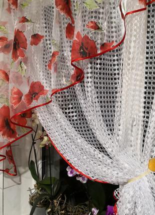 Занавеска штора тюль крупная сетка уголок маки