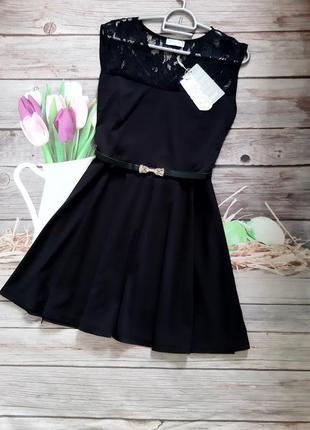 Новое нарядное платье чёрное мини