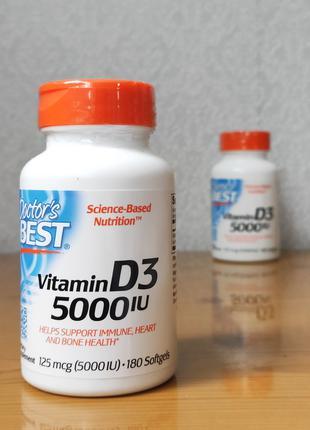 Doctor´s Best, Витамин D3, Д3 125 мкг (5000 МЕ), 180 капсул