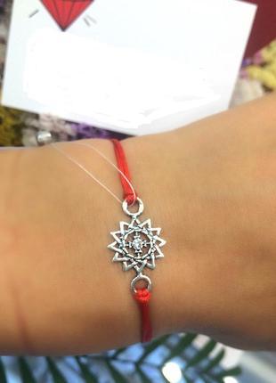 Красная нить серебро 925 пробы браслет эрцгамма 4052