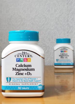 Кальций, магний, цинк, витамин Д3, 21st Century, 90 табл