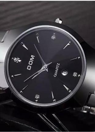 Мужские кварцевые часы Dom Дом  из вольфрамовой стали (Черный, Се