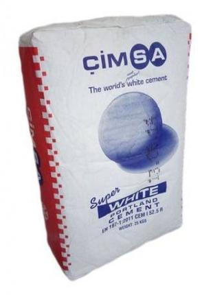 Цемент белый Cimsa в мешках, 25 кг