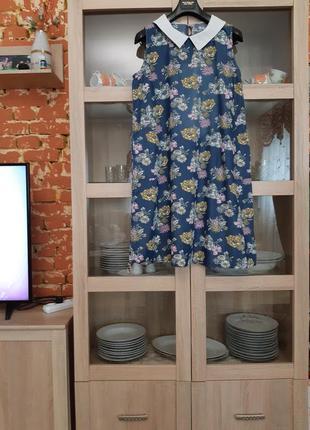 Милое с воротничком и карманами платье большого размера