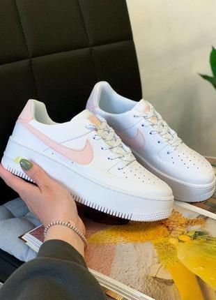 Nike air force white/pink  reflective ✨ женские стильные кросс...